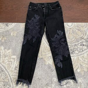 Carmar - black jeans with painted rose design
